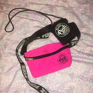 Hot pink fanny pack with drink holder